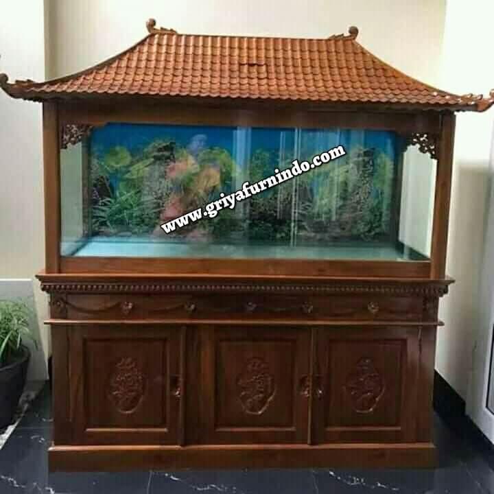 Bufet Aquarium Ukir Jati